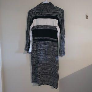 Black, gray, and white sweater turtleneck dress